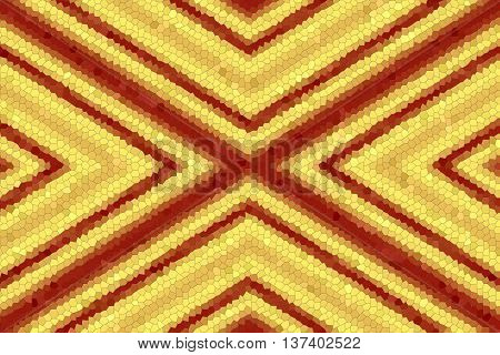 Illustration of a red and yellow mosaic x-pattern