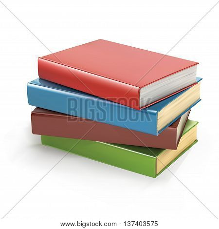 Stack of multi colored book isolated on a white background. vector illustration.