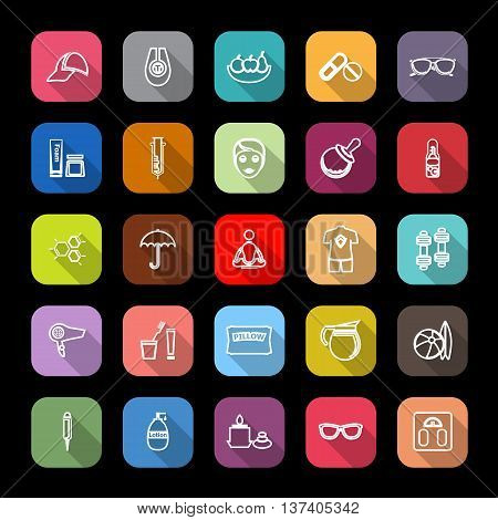 Facial and body treatment line icons with long shadow stock vector