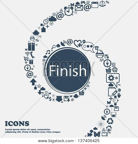 Finish Sign Icon. Power Button In The Center. Around The Many Beautiful Symbols Twisted In A Spiral.