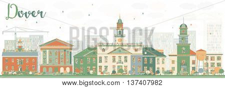 Abstract Dover Skyline with Color Buildings. Business Travel and Tourism Concept with Historic Buildings. Image for Presentation Banner Placard and Web Site.