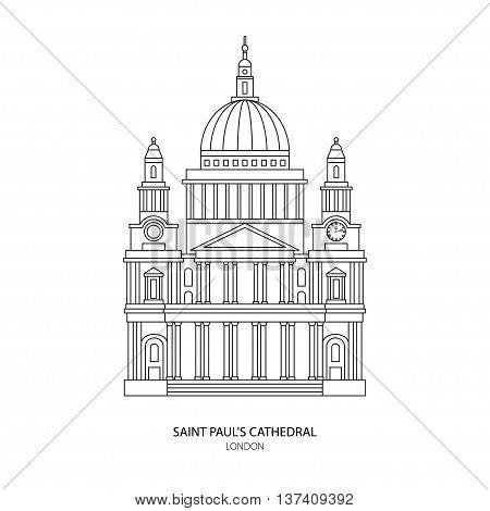 St. Paul's Cathedral London landmark vector Illustration. Outline design element for tourism banner flayer website background