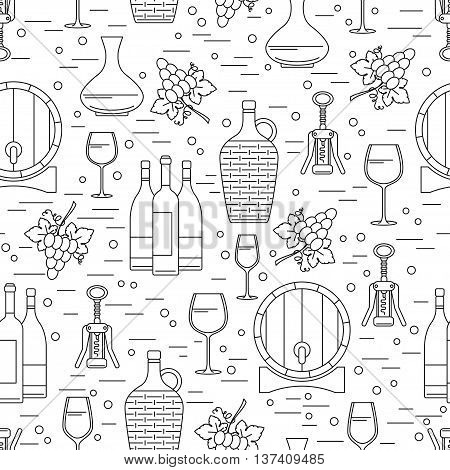 Seamless pattern with winemaking design element on white background.