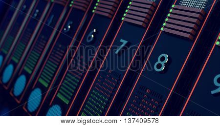 Computers on row, web communication. Toned image, 3D illustration