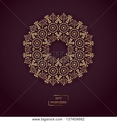 Ornamental card with gold flower oriental mandala on vinous color background. Ethnic vintage pattern. Indian, asian, arabic, islamic, ottoman motif. Vector illustration.