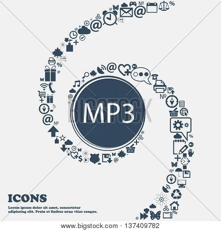 Mp3 Music Format Sign Icon. Musical Symbol In The Center. Around The Many Beautiful Symbols Twisted