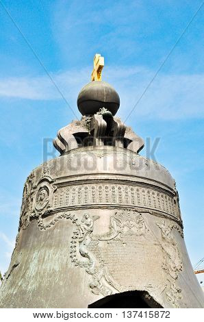 The Tsar bell (also known as the Tsarsky Kolokol Tsar Kolokol III or Royal Bell) in Moscow Kremlin Russia
