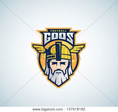 Football Gods Vector Sport Team or League Logo Template. Odin Face with Typography. Mighty Warrior Head in a Helmet Mascot. Isolated.