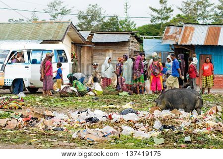 : Local Market In Wamena, At New Guinea
