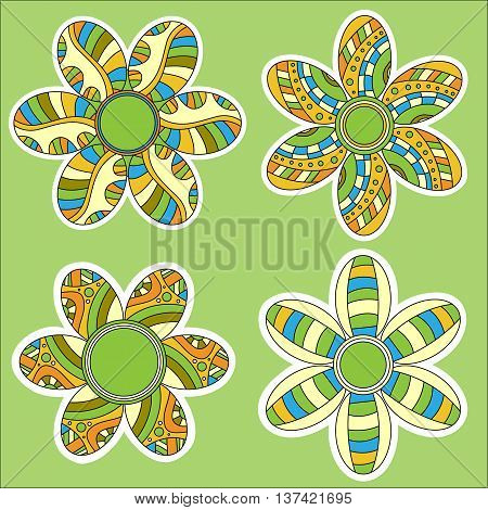Colorful modern flower collection over green background