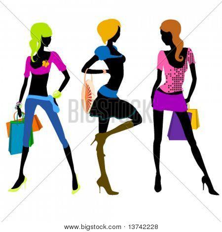 shopping girl illustration 2