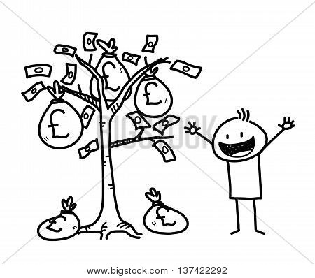 Money Tree Business Stick Figure Doodle (Pound Sterling), a hand drawn vector doodle illustration of a businessman and a money tree.