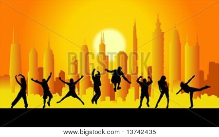 happy people in city vector