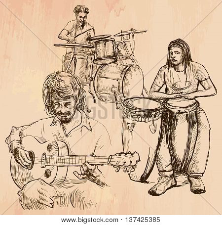 An hand drawn vector - MUSIC BAND guitar player and drummers - line art. Vector is editable in groups and layers - freehand sketching.