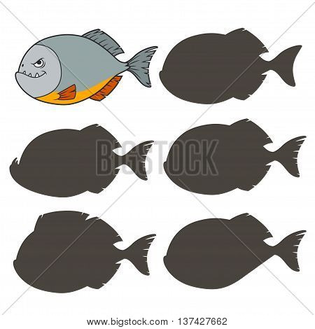 Cartoon piranha. Find the right shadow image. Educational games for kids.Vector stock illustration
