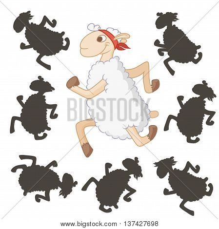 Cartoon sheep. Find the right shadow image. Educational games for kids.Vector stock illustration