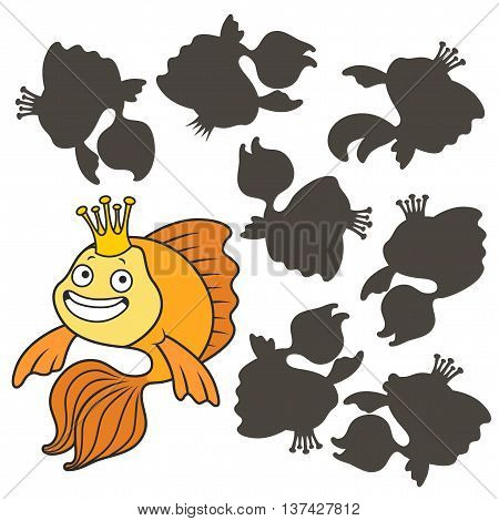 Cartoon goldfish.Find the right shadow image. Educational games for kids.Vector stock illustration