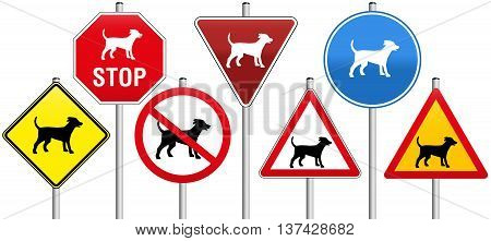 Seven traffic signs concerning dogs, like warning- stop- yield- or prohibition-signs.