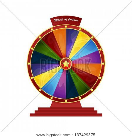 bright colorful wheel of fortune on a pedestal. vector illustration isolated on white background