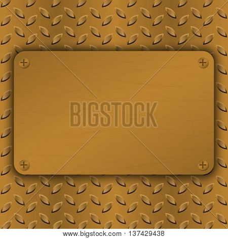 Metal Background with plate and rivets. Metallic grunge texture. Brushed Brass copper latticed surface template. Abstract industrial techno vector illustration.