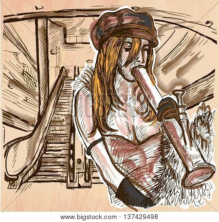 An hand drawn vector - CRACK SMOKER. An young woman smoking crack pipe in an urban environment - colored line art. Vector is editable in groups and layers - freehand sketching.