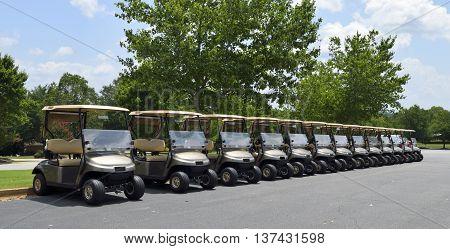 Golf carts at course background at Georgia, USa.
