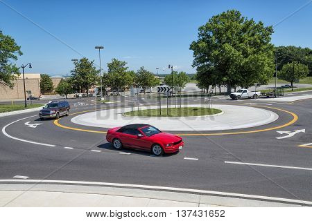 Traffic Roundabout Intersection In The Suburbs Horizontal