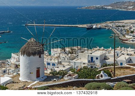 Panoramic view of Aegean sea and island of Mykonos, Cyclades, Greece