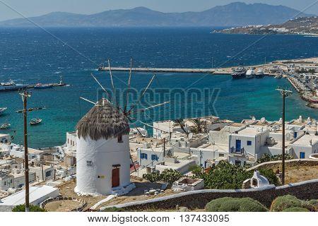 Amazing Panorama of white windmill and island of Mykonos, Cyclades, Greece