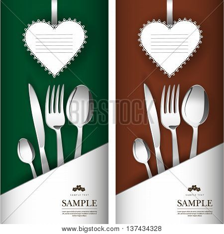 St. Valentine's Day. Two cards with white paper heart. It has a white pocket. Grouped for easy editing. Perfect for invitations or announcements or restaurant menu.