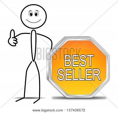 Stickman with Bestseller button - 3D illustration