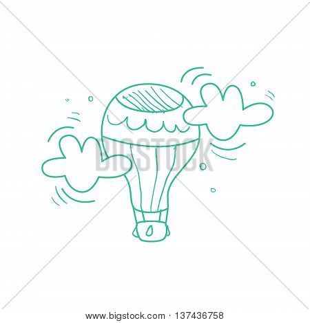 Hot Air Balloon Mid-air Hand Drawn Childish Illustration In Funny Comic Style On White Background