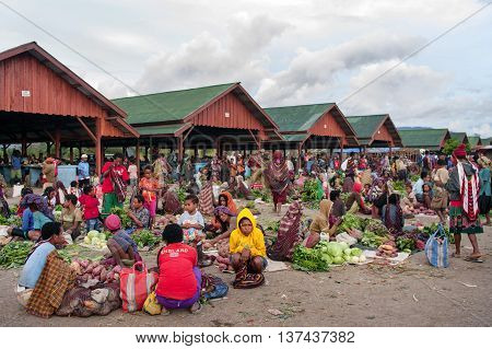 Green Vegetable Displayed For Sale At A Local Market In Wamena,on New Guinea Island,