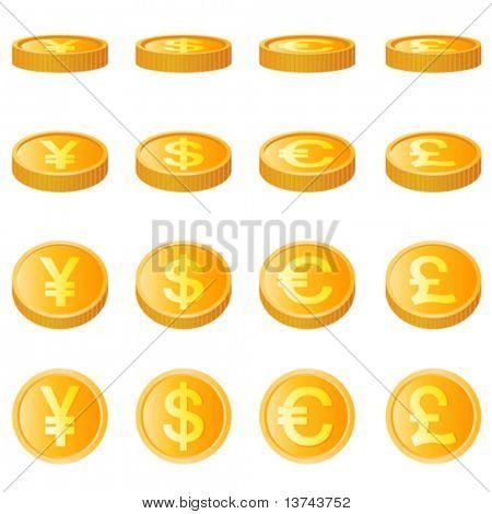 gold coin, four monetary unit vector