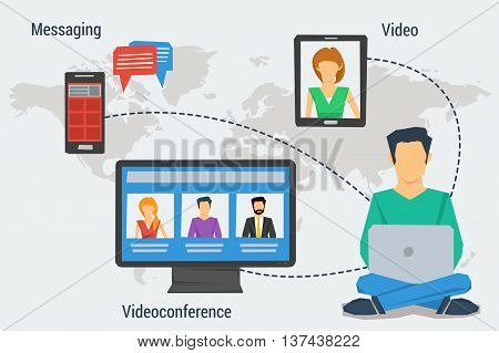 Vector concept Internet communication webinar online or training education in flat style. Man with laptop sending message make videoconference with others in flat style