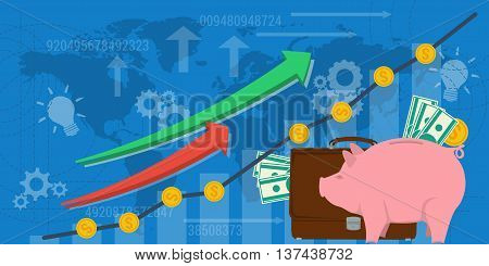 Vector business background financial money growth. Web or ad horizontal banner. Concept analytics earnings growth. Arrows shows growth money banknotes and money pig in flat style