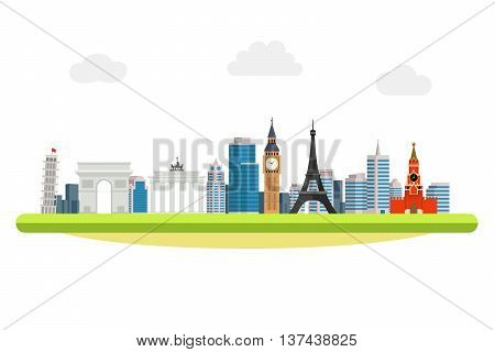 banner on the topic of traveling around the world. World landmarks in the background of the modern city. Pisa, Eiffel Tower, Brandenburg Gate, Triumph Arc, Big Ben, Kremlin, Vector illustration.
