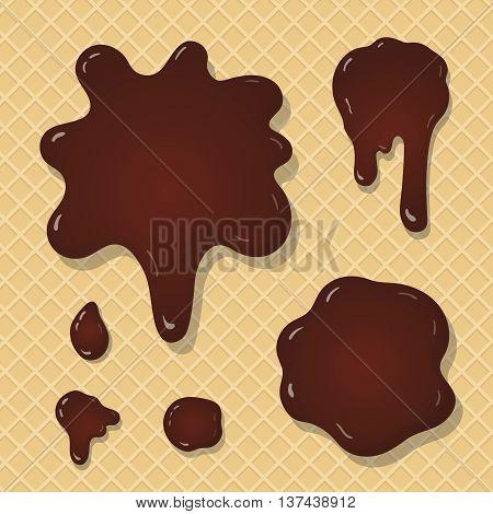Chocolate splash blots set . Choco drop elements for design