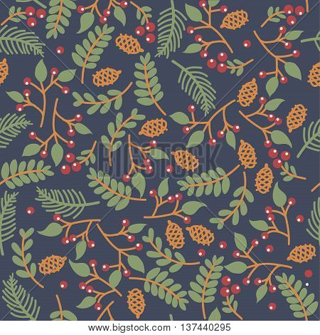 christmass seamless floral texture on blue background