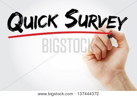 Hand Writing Quick Survey With Marker