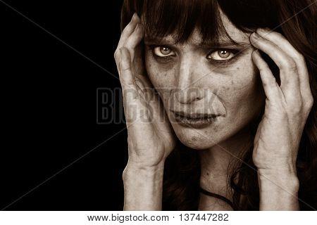 Disturbing Image of a Drug addict On Black