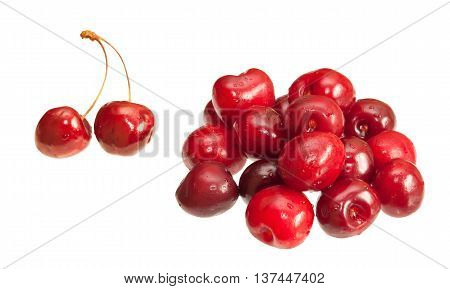 Picture of Cherries isolated on white background