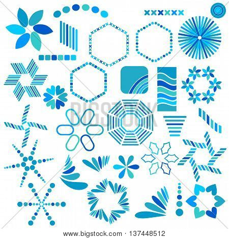 Blue symbol collection isolated over white background