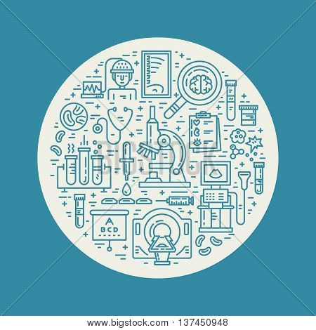 Vector line style illustration with different medical items - MRI scan microscope. Medical research poster.