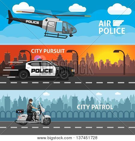 Three horizontal flat police banner set with descriptions of air police city pursuit and city patrol vector illustration poster