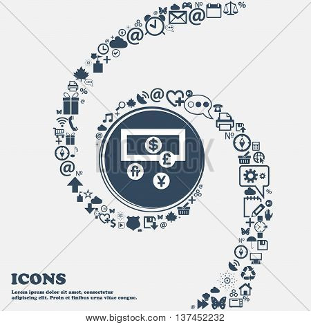 Currencies Of The World Icon Sign In The Center. Around The Many Beautiful Symbols Twisted In A Spir