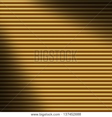 Horizontal gold tube background texture lit diagonally