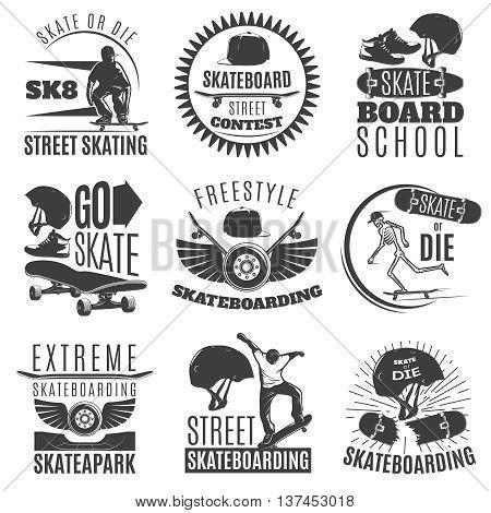Skateboarding emblem or label set with descriptions of skate or die skateboard street contest freestyle skateboarding vector illustration