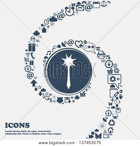 Mace Icon Sign In The Center. Around The Many Beautiful Symbols Twisted In A Spiral. You Can Use Eac