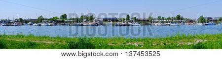 port panorama with yacht blue summer water sea leisure